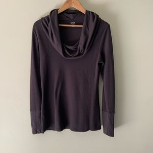 A.N.A Black Waffle Weave Cowl Neck Tunic
